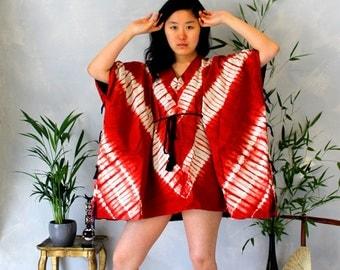 Red tie - dye cotton tunic