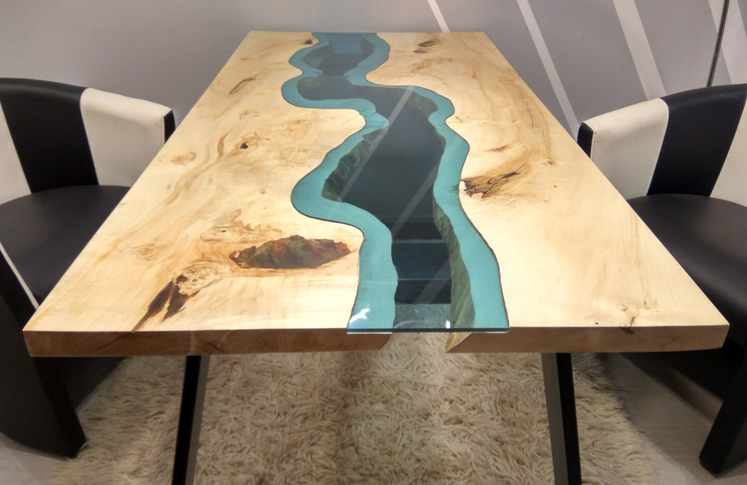 live edge river table with with epoxy inlay. Black Bedroom Furniture Sets. Home Design Ideas