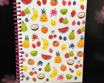 Tropical Fruit A5 Spiralbound Notebook • Watermelon • Cherry • Pineapple • Lined Paper • Shopping list • Stationery • Back to School