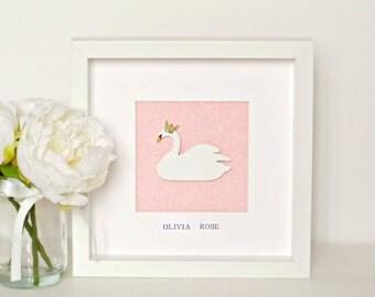 Swan Princess Wall Art Frame - Personalised or Blank