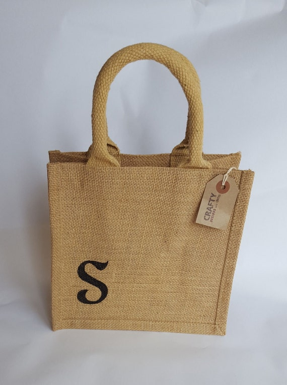 Personalised Jute Hessian Tote Lunch Shopping Bag Shopper With Handmade Black Initial Stencil Design