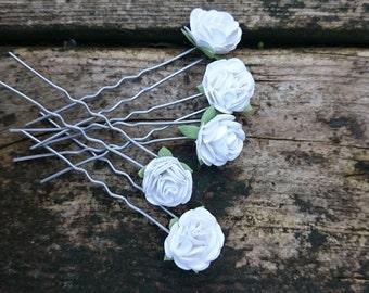 White floral hair pins, Bridesmaid floral hair pins, Bridal floral hair pins, flower hair accessories, wedding hair accessories, hair pins