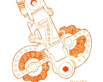 Drawing of Zeus Bicycle Derailleur