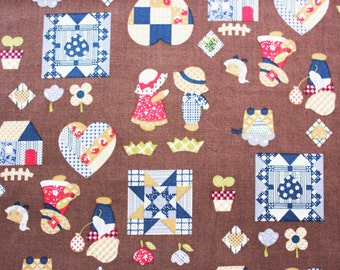 Quilting Fabric, Patchwork, Sunbonnet Sue, English Classic, Cotton Fabric, Brown, Vintage, Craft  Dressmaking, Extra Wide, Half Metre