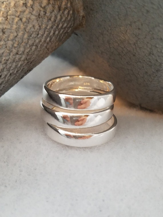 Sterling Silver Stacking Rings - Customized Sterling Silver Stackable Rings - Stamped Sterling Silver Rings - Custom Sterling Silver Rings