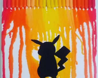 Pikachu Melted Crayon Art Canvas