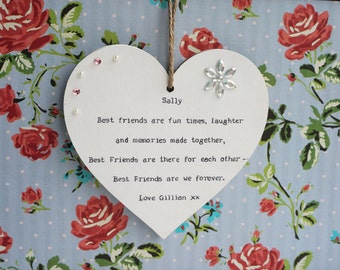 Best Friend Gift Personalised Hand Made Heart Plaque, Sister, Friend