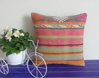 16x16  striped pillow pink pillow kilim pillow cover - 071a