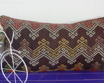 12x24 kilim pillow lumbar pillow decorative pillow - 25b