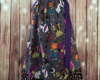 Halloween Pillowcase dress, Little Monster dress, Little Monsters Pillowcase dress, Pillowcase dress for Halloween,