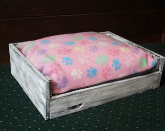 Pink and Gray Fleece Dog Bed in Rustic Wooden Frame