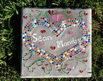 Personalized mosaic keepsake stepping stone