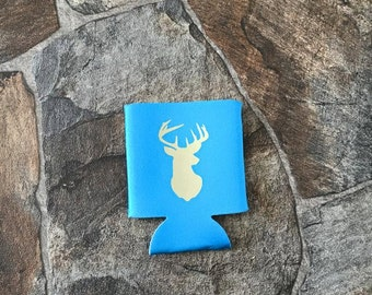 Neon blue koozie with deer