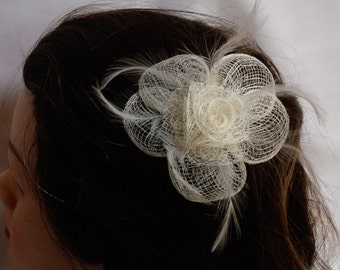 Sinamay Cream Flower Fascinator with Feathers [Other Colours Available]