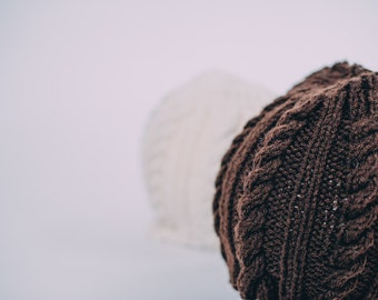 Adult Knit Cabled Hats