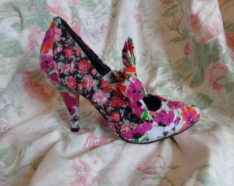 floral vintage style summer heels