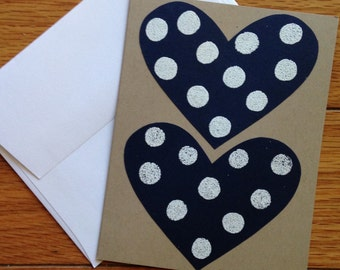 Valentine's Day Card: navy, white, and tan