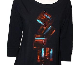 """Black T.shirt, woman, """"vest-e-bubble"""", handpainted, unique style, size 42"""