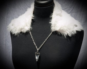 White Faux Fur Pendulum Wrap