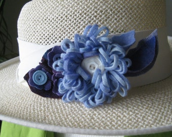 Hand Dyed Blue Wool Flower Pin