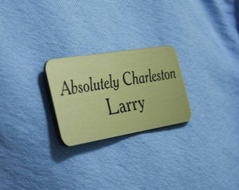 "1.5 "" x 3"" Engraved Two-Color Plastic Nametag with Magnetic Backer"