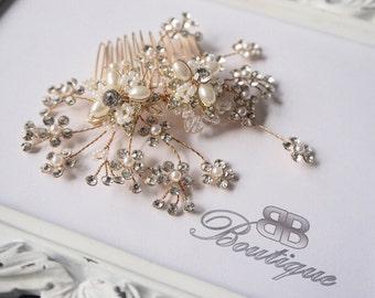 Gold Bridal Hair Comb, Wedding Hair Accessories, Bridal hair accessories, gold wedding accessories, Bridal comb pearl