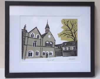 Moyse's Hall, Bury St Edmunds [Linocut]