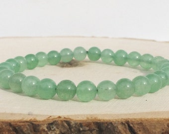 Green Jade Gemstone Bracelet, Women's Bracelet, Beaded Bracelet, Light Green Bracelet, Green Bracelet
