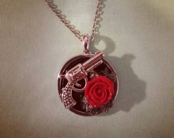 Pistol and rose necklace