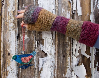 Knit Fingerless Gloves, Cozy Hand Warmers, Fingerless Mitts