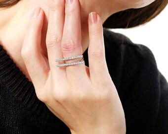 double bar ring, double bar ring cz, cz bar ring, geometric ring, modern ring, open bar ring, minimalist ring, silver bar ring, bar ring