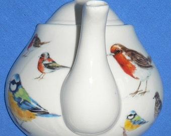 Garden birds ceramic teapot hook