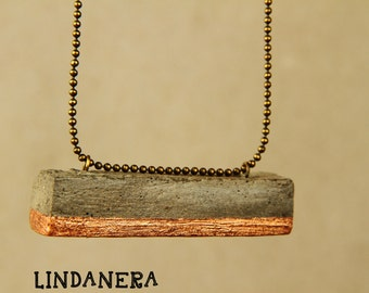 Modern pendant in 23-karat GOLD or copper concrete bar, and chain to desired length shot