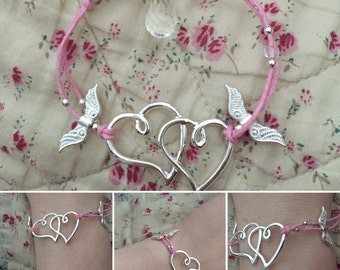 Heart bracelet, silver bracelet, heart bracelet, love bracelet, pink bracelet, friendship bracelet, bracelet gift, friendship gift