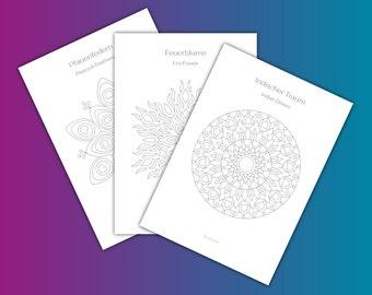10 Coloring Pages (Mandalas), Digital Coloring Book, Coloring Sheets, Instant Download as PDF