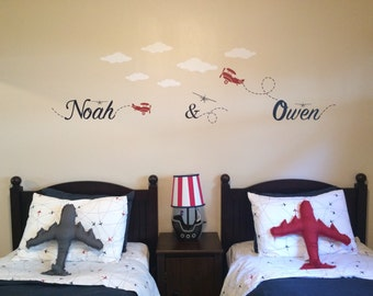 Personalized Wall Decal - Airplane theme