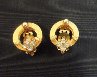 Gold tone Earrings with Four Faux Diamonds