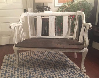 Antique Bench with 100+yr old reclaimed wood seat