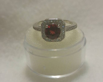 Genuine Garnet & White Topaz Sterling Silver Ring, .75ct Garnet, Size 6