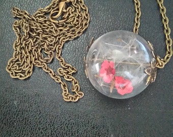 """bronze necklace """"dried flowers"""""""