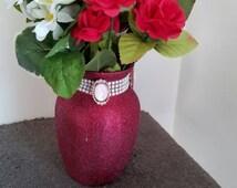 red, pearl ribbon, Opal bead vase