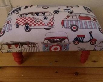 Funky Shabby Chic VW camper van footstool