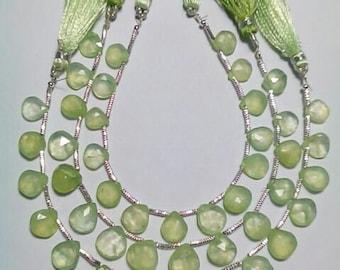 PREHNITE Rose Cut Facetade Heart Shape Briolette Beads 15 Pieces