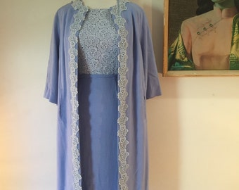 1950s linen and lace wiggle dress & jacket set, baby blue by Leon Cutler