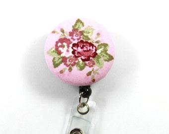 ROSES Fabric Badge Reel, Retractable Badge Reel, Roses Badge Reel