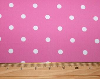 Pink/white Polka-dot Lycra/Spandex 4 way stretch Matt Finish Fabric