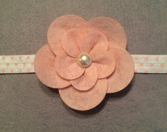 Pink Polka Dot Headband