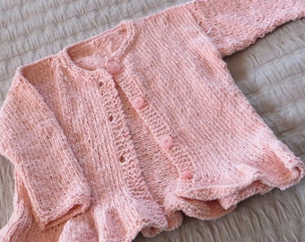 Hand knit girl's cardigan, size 4, cotton chenille yarn in shell pink