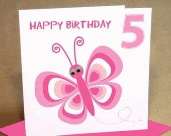 Age 5 Girl Birthday Card
