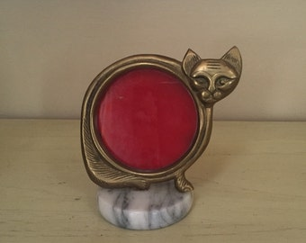 Brass Cat & Marble Base Picture Frame • Mid Century • Unique